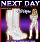 WHITE # 60s 70s ABBA FANCY DRESS GOGO PLATFORM BOOTS Shoe Size : UK 9 Calf Width : Standard